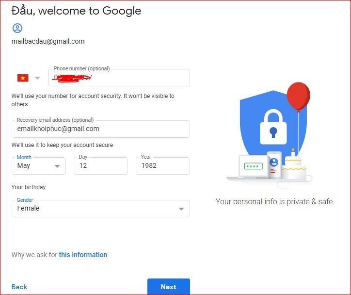 cập nhật thông tin gmail