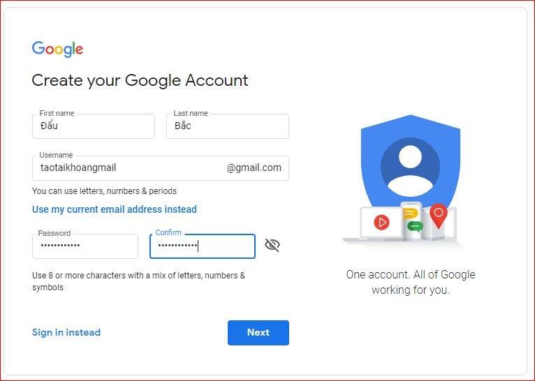 tài khoản gmail mới